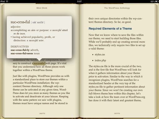 iBooksの英英辞書イメージ